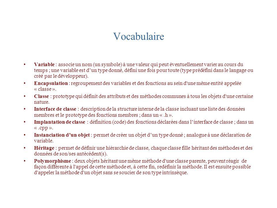 Vocabulaire Variable : associe un nom (un symbole) à une valeur qui peut éventuellement varier au cours du temps ; une variable est dun type donné, dé