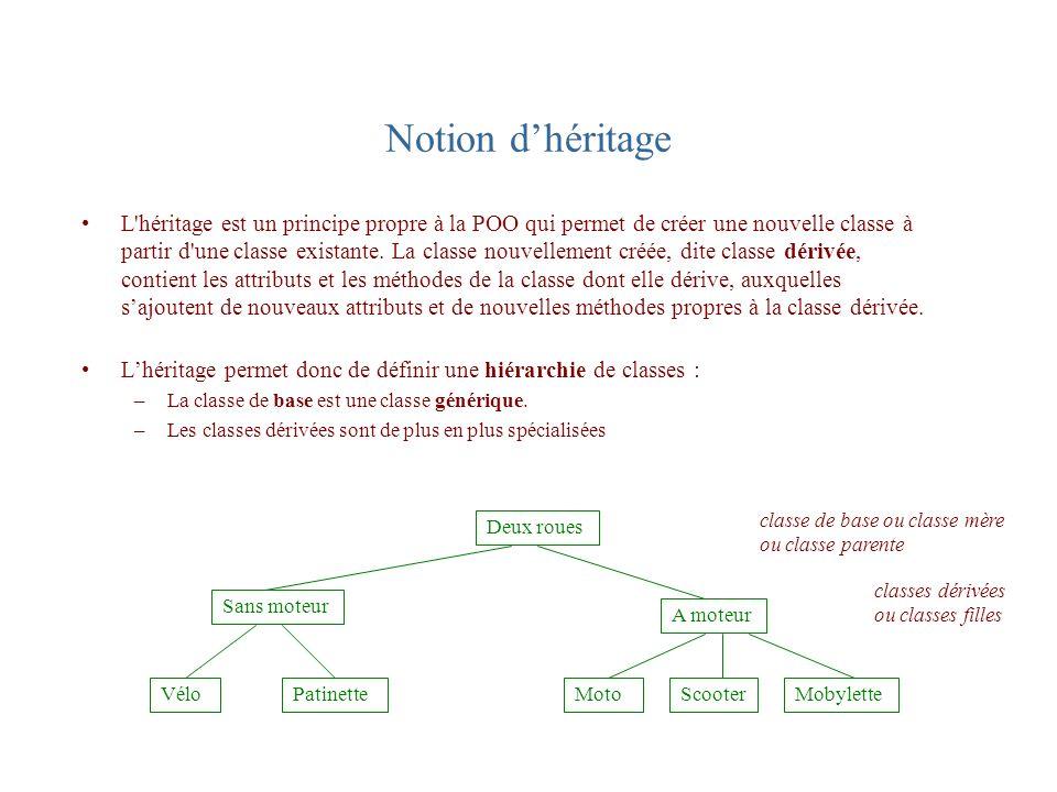 Notion dhéritage L'héritage est un principe propre à la POO qui permet de créer une nouvelle classe à partir d'une classe existante. La classe nouvell