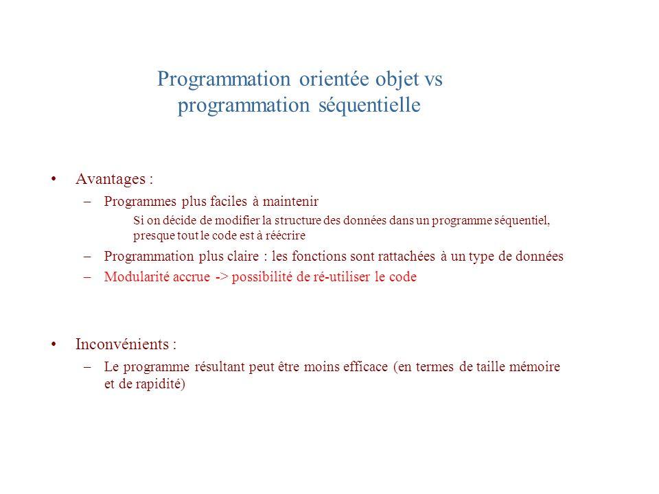 Programmation orientée objet vs programmation séquentielle Avantages : –Programmes plus faciles à maintenir Si on décide de modifier la structure des