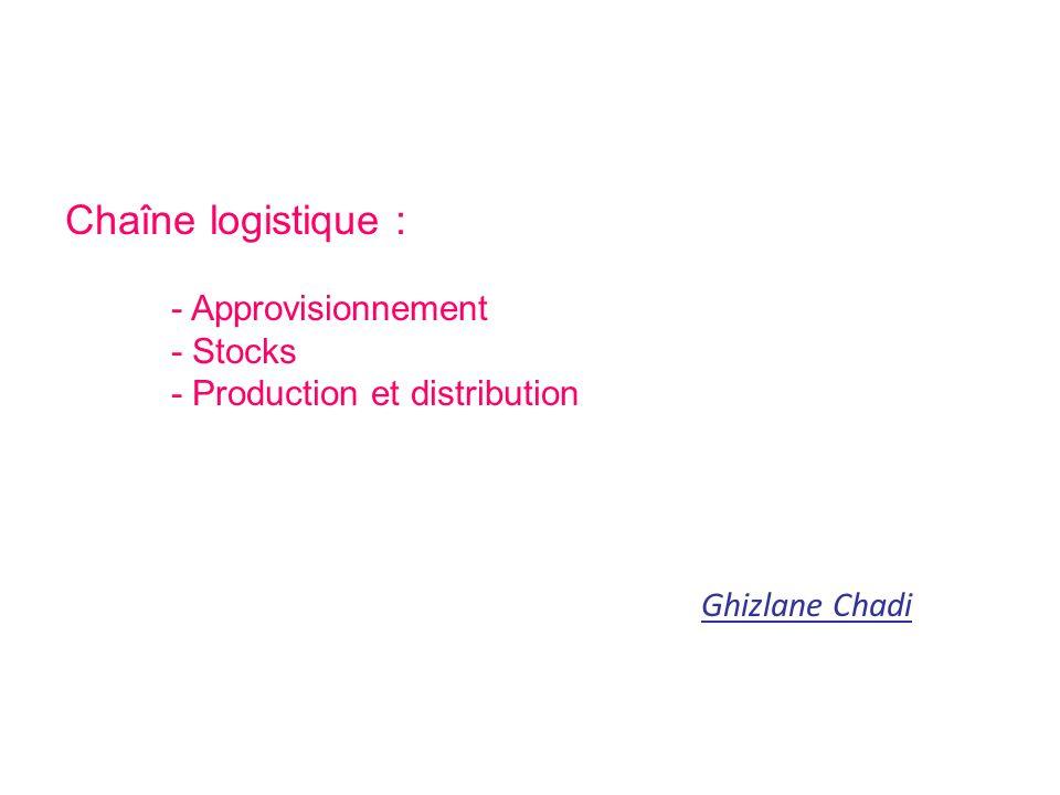 Chaîne logistique : - Approvisionnement - Stocks - Production et distribution Ghizlane Chadi