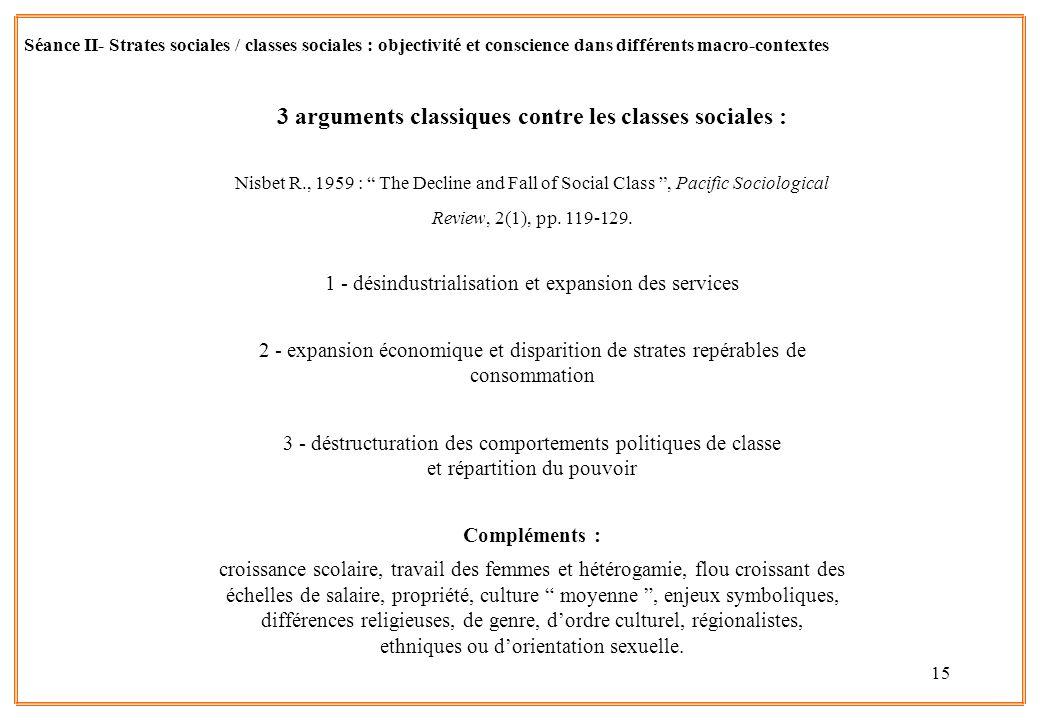 15 Séance II- Strates sociales / classes sociales : objectivité et conscience dans différents macro-contextes 3 arguments classiques contre les classe