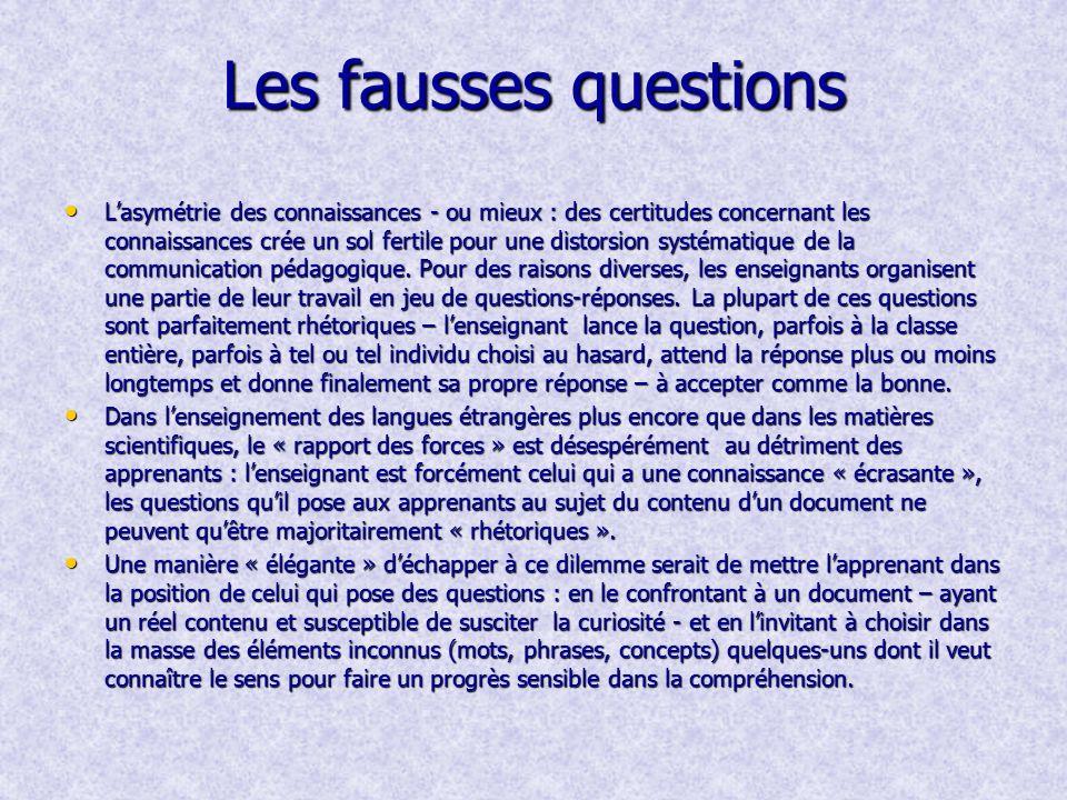 Les fausses questions Lasymétrie des connaissances - ou mieux : des certitudes concernant les connaissances crée un sol fertile pour une distorsion systématique de la communication pédagogique.