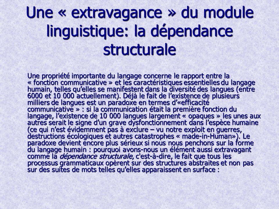 Une « extravagance » du module linguistique: la dépendance structurale Une propriété importante du langage concerne le rapport entre la « fonction communicative » et les caractéristiques essentielles du langage humain, telles quelles se manifestent dans la diversité des langues (entre 6000 et 10 000 actuellement).