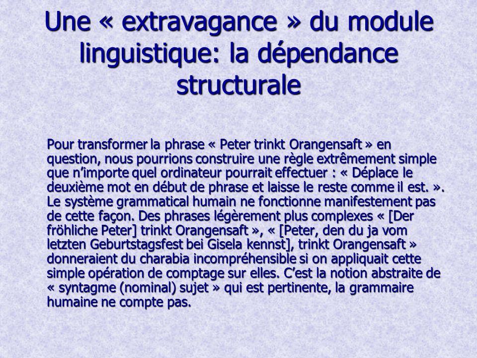 Une « extravagance » du module linguistique: la dépendance structurale Pour transformer la phrase « Peter trinkt Orangensaft » en question, nous pourrions construire une règle extrêmement simple que nimporte quel ordinateur pourrait effectuer : « Déplace le deuxième mot en début de phrase et laisse le reste comme il est.