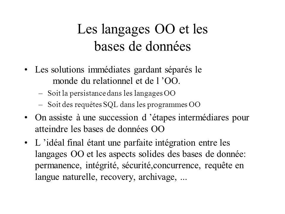 Les langages OO et les bases de données Les solutions immédiates gardant séparés le monde du relationnel et de l OO.
