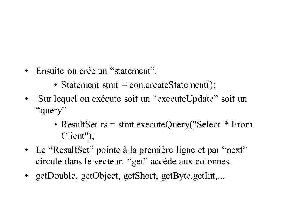 Ensuite on crée un statement: Statement stmt = con.createStatement(); Sur lequel on exécute soit un executeUpdate soit un query ResultSet rs = stmt.executeQuery( Select * From Client ); Le ResultSet pointe à la première ligne et par next circule dans le vecteur.
