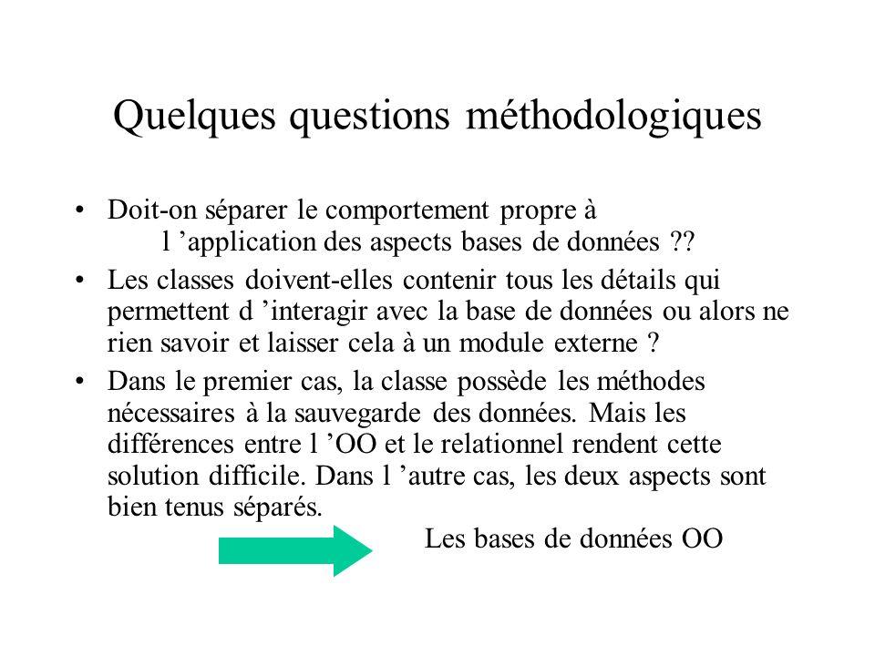 Quelques questions méthodologiques Doit-on séparer le comportement propre à l application des aspects bases de données ?.
