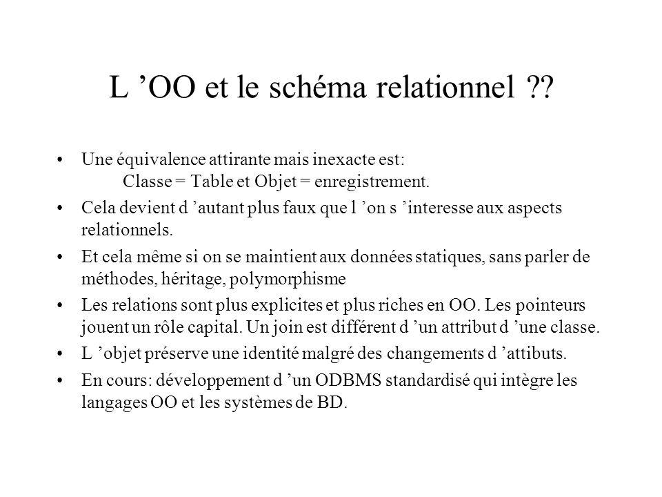 L OO et le schéma relationnel ?.