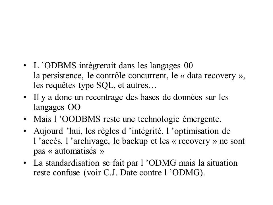 L ODBMS intègrerait dans les langages 00 la persistence, le contrôle concurrent, le « data recovery », les requêtes type SQL, et autres… Il y a donc un recentrage des bases de données sur les langages OO Mais l OODBMS reste une technologie émergente.