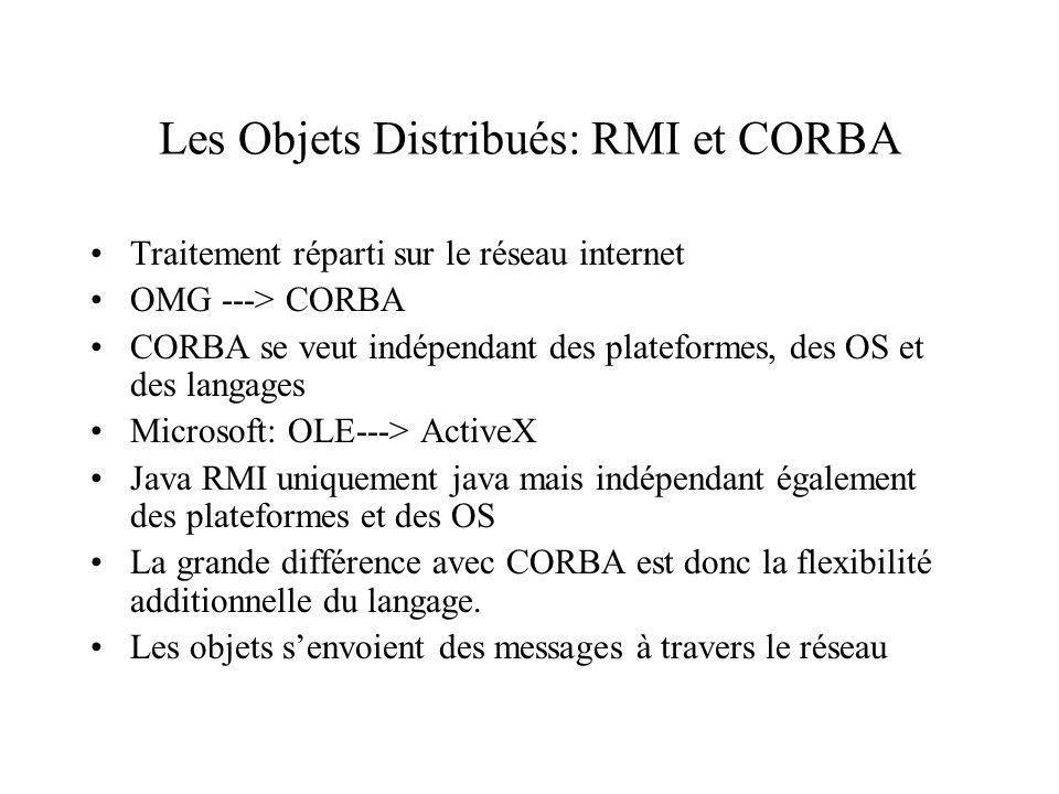 Les Objets Distribués: RMI et CORBA Traitement réparti sur le réseau internet OMG ---> CORBA CORBA se veut indépendant des plateformes, des OS et des langages Microsoft: OLE---> ActiveX Java RMI uniquement java mais indépendant également des plateformes et des OS La grande différence avec CORBA est donc la flexibilité additionnelle du langage.