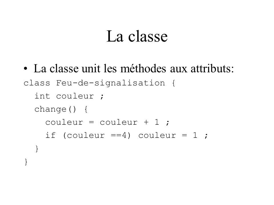 La classe La classe unit les méthodes aux attributs: class Feu-de-signalisation { int couleur ; change() { couleur = couleur + 1 ; if (couleur ==4) couleur = 1 ; }
