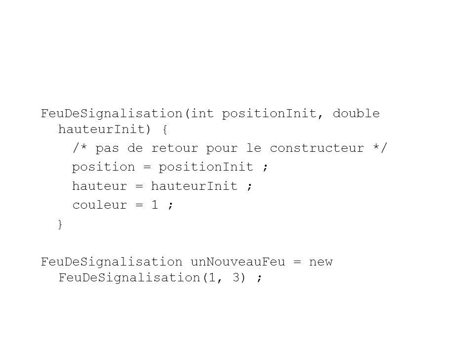 FeuDeSignalisation(int positionInit, double hauteurInit) { /* pas de retour pour le constructeur */ position = positionInit ; hauteur = hauteurInit ; couleur = 1 ; } FeuDeSignalisation unNouveauFeu = new FeuDeSignalisation(1, 3) ;