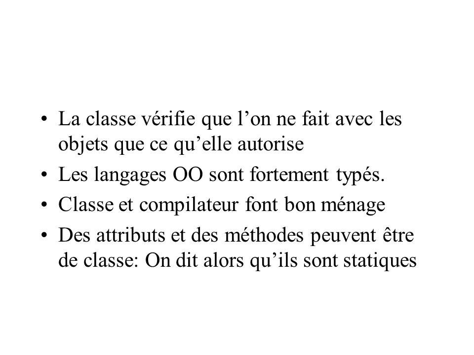 La classe vérifie que lon ne fait avec les objets que ce quelle autorise Les langages OO sont fortement typés.