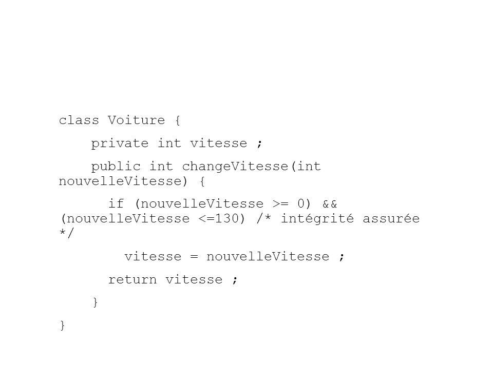 class Voiture { private int vitesse ; public int changeVitesse(int nouvelleVitesse) { if (nouvelleVitesse >= 0) && (nouvelleVitesse <=130) /* intégrité assurée */ vitesse = nouvelleVitesse ; return vitesse ; }