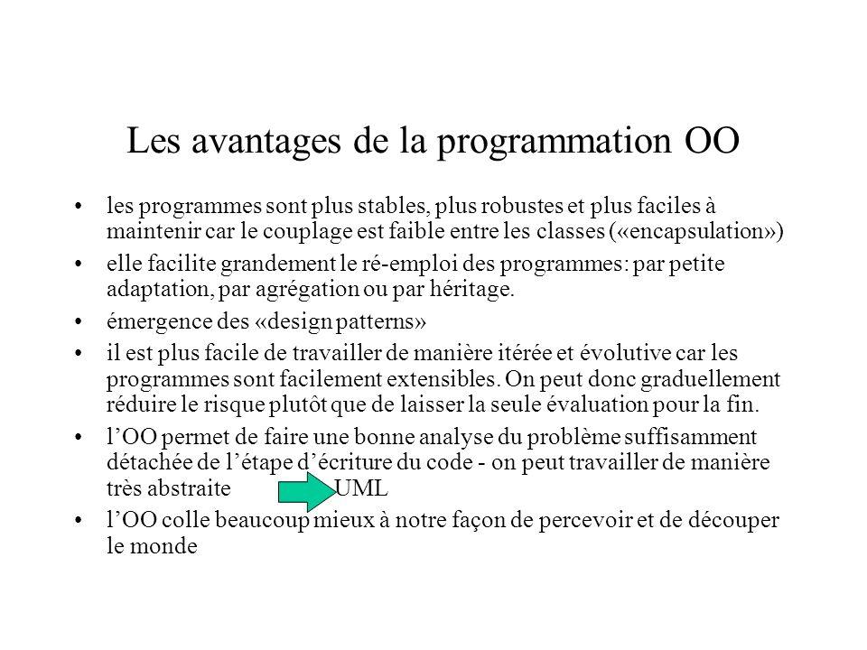 Les avantages de la programmation OO les programmes sont plus stables, plus robustes et plus faciles à maintenir car le couplage est faible entre les classes («encapsulation») elle facilite grandement le ré-emploi des programmes: par petite adaptation, par agrégation ou par héritage.