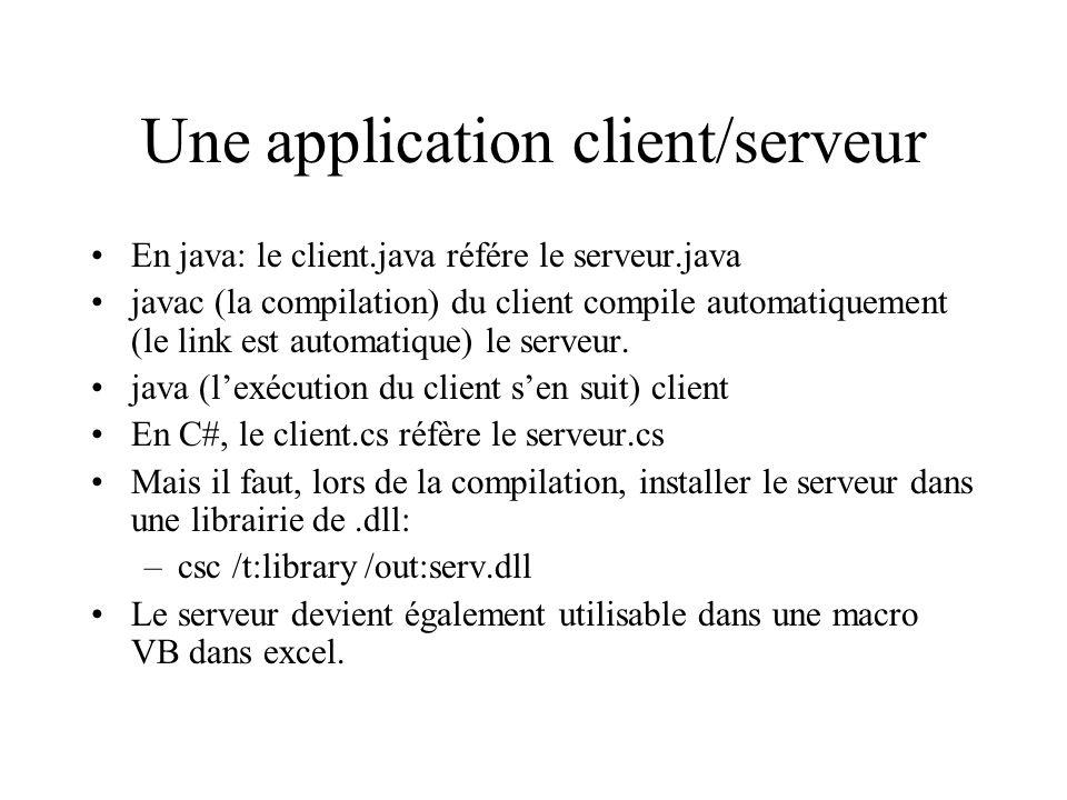 Une application client/serveur En java: le client.java référe le serveur.java javac (la compilation) du client compile automatiquement (le link est automatique) le serveur.
