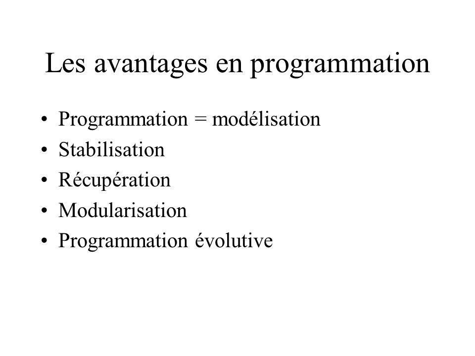 Les avantages en programmation Programmation = modélisation Stabilisation Récupération Modularisation Programmation évolutive