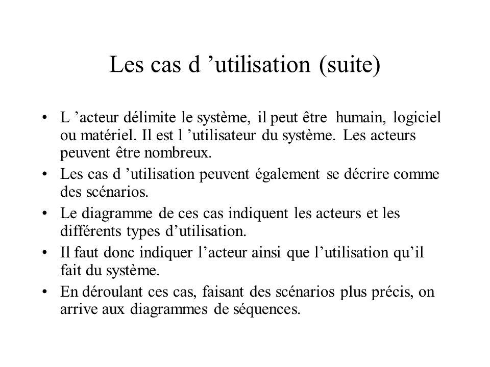 Les cas d utilisation (suite) L acteur délimite le système, il peut êtrehumain, logiciel ou matériel.