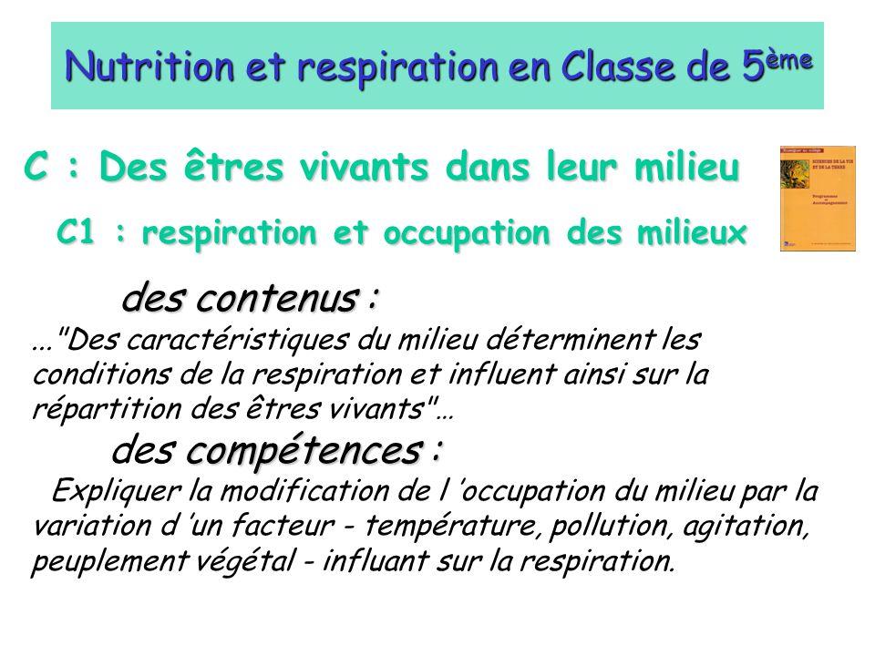 C : Des êtres vivants dans leur milieu C1 : respiration et occupation des milieux Nutrition et respiration en Classe de 5 ème des contenus :...