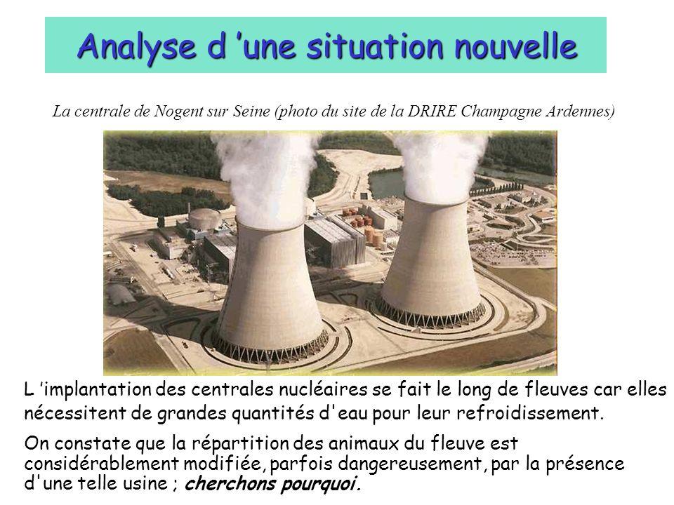 La centrale de Nogent sur Seine (photo du site de la DRIRE Champagne Ardennes) Analyse d une situation nouvelle L implantation des centrales nucléaire