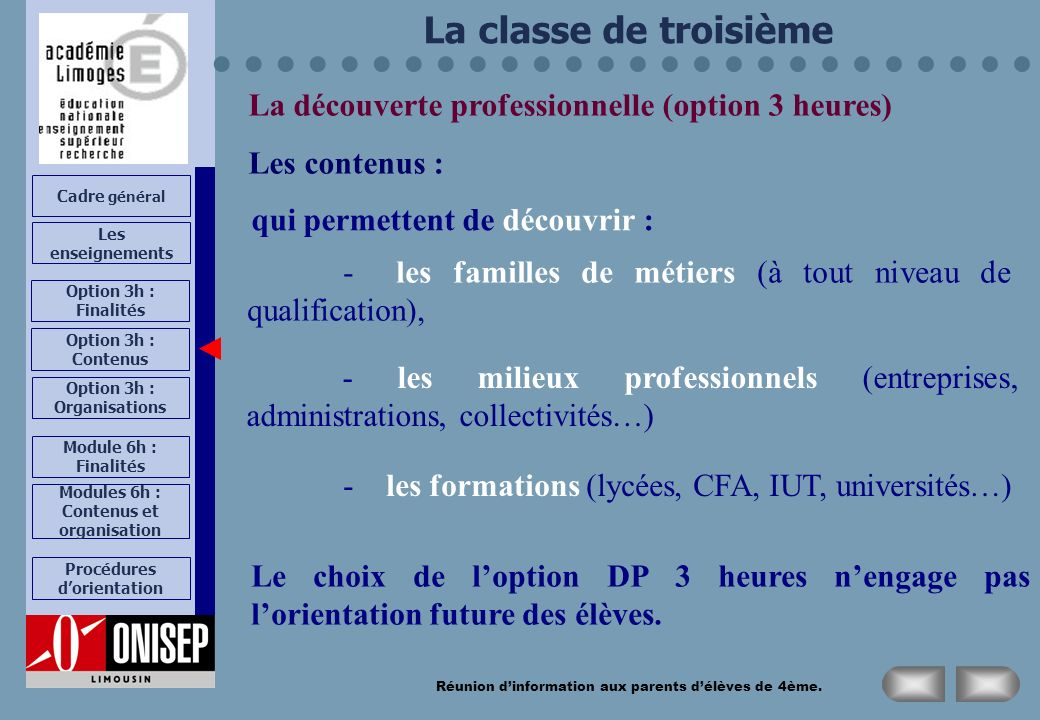 Cadre général Réunion dinformation aux parents délèves de 4ème.