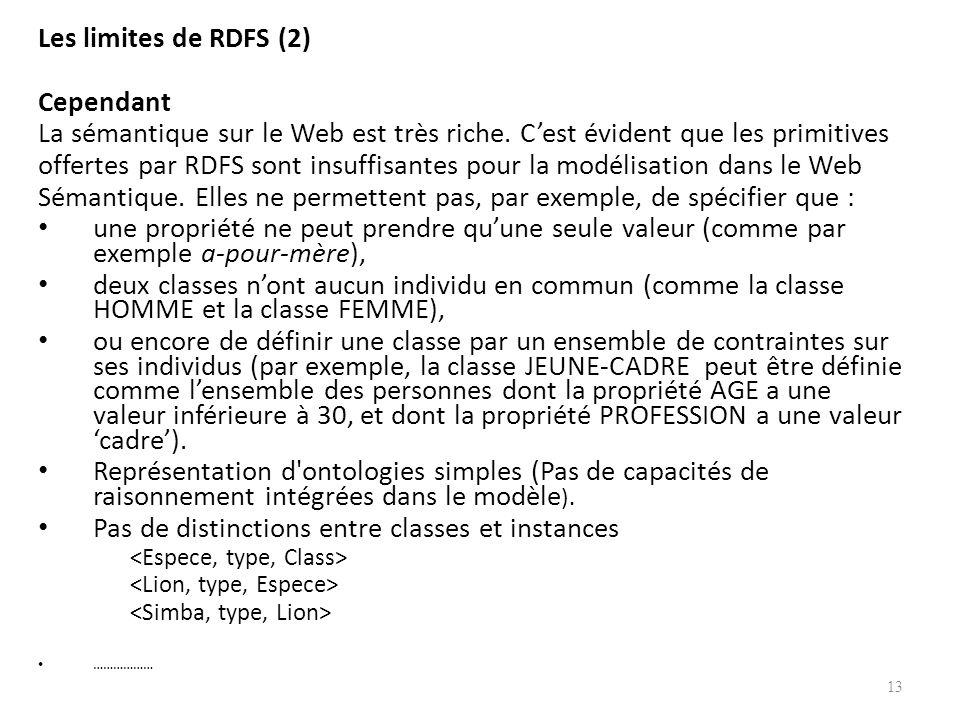 Les limites de RDFS (2) Cependant La sémantique sur le Web est très riche. Cest évident que les primitives offertes par RDFS sont insuffisantes pour l
