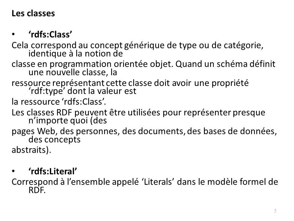 Les classes rdfs:Class Cela correspond au concept générique de type ou de catégorie, identique à la notion de classe en programmation orientée objet.