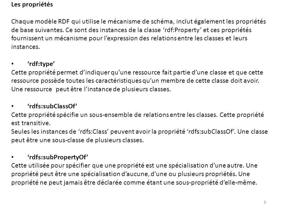 Les propriétés Chaque modèle RDF qui utilise le mécanisme de schéma, inclut également les propriétés de base suivantes. Ce sont des instances de la cl