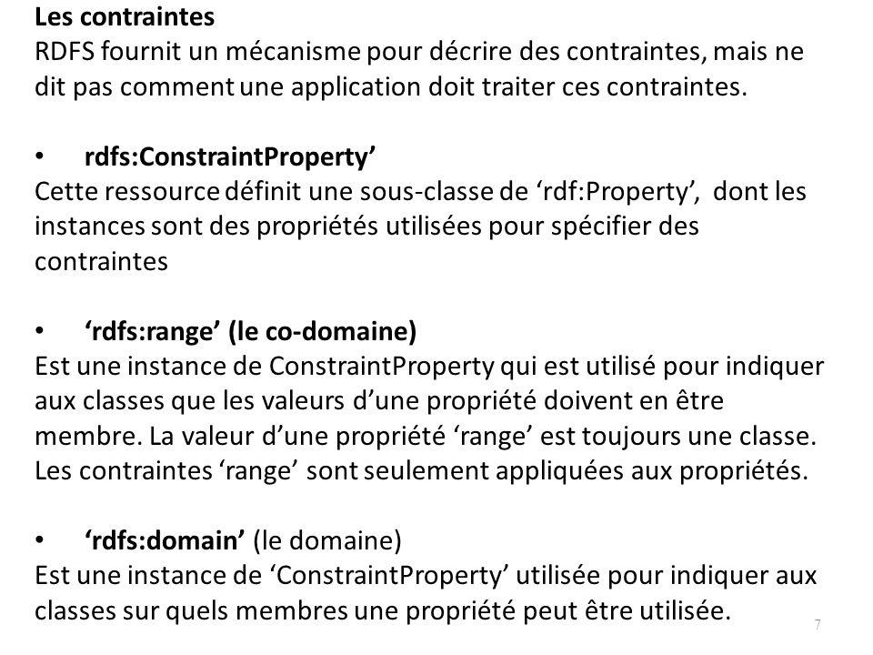 Les contraintes RDFS fournit un mécanisme pour décrire des contraintes, mais ne dit pas comment une application doit traiter ces contraintes. rdfs:Con