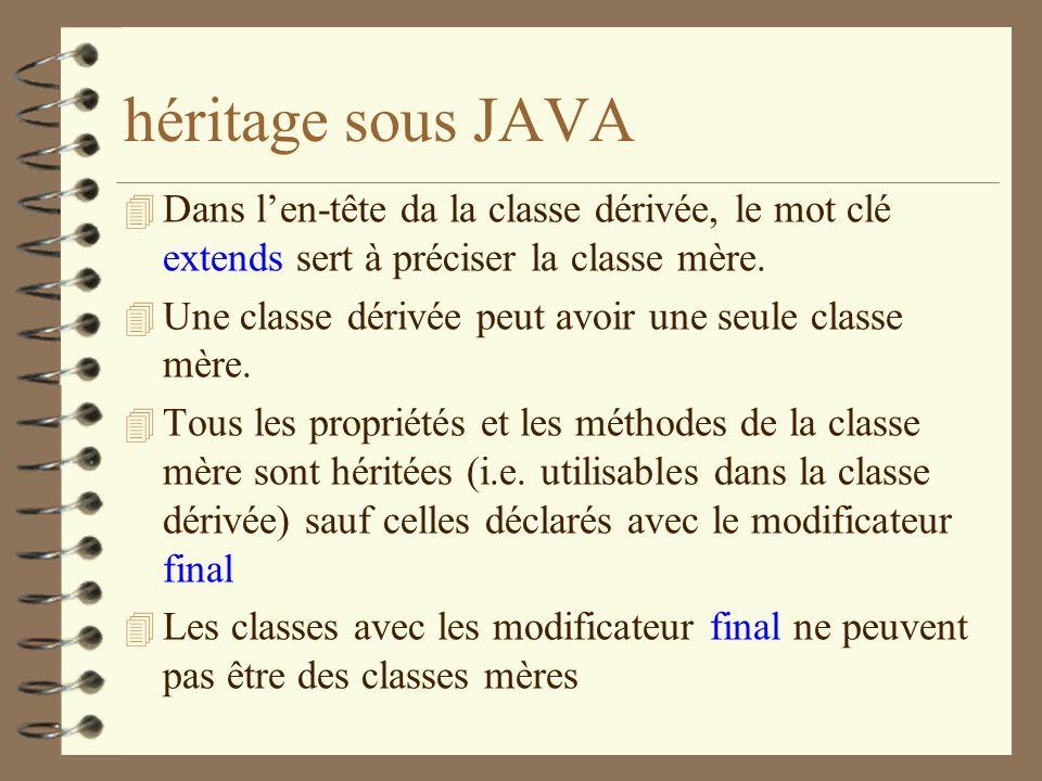 héritage sous JAVA 4 Dans len-tête da la classe dérivée, le mot clé extends sert à préciser la classe mère. 4 Une classe dérivée peut avoir une seule