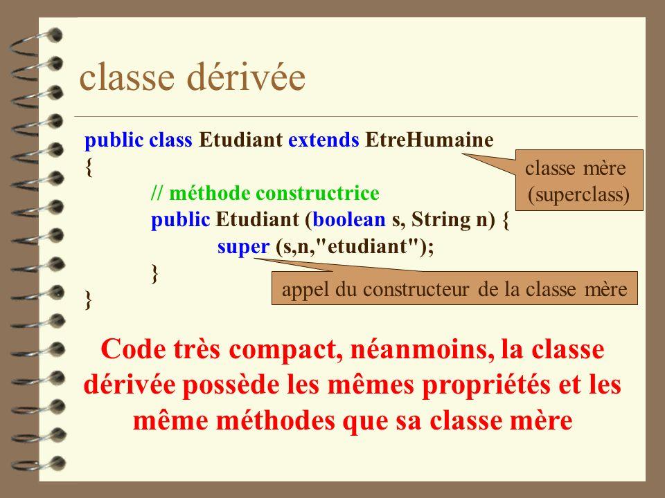 classe dérivée public class Etudiant extends EtreHumaine { // méthode constructrice public Etudiant (boolean s, String n) { super (s,n,