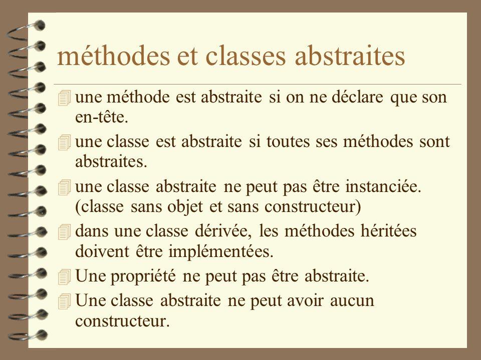 méthodes et classes abstraites 4 une méthode est abstraite si on ne déclare que son en-tête. 4 une classe est abstraite si toutes ses méthodes sont ab