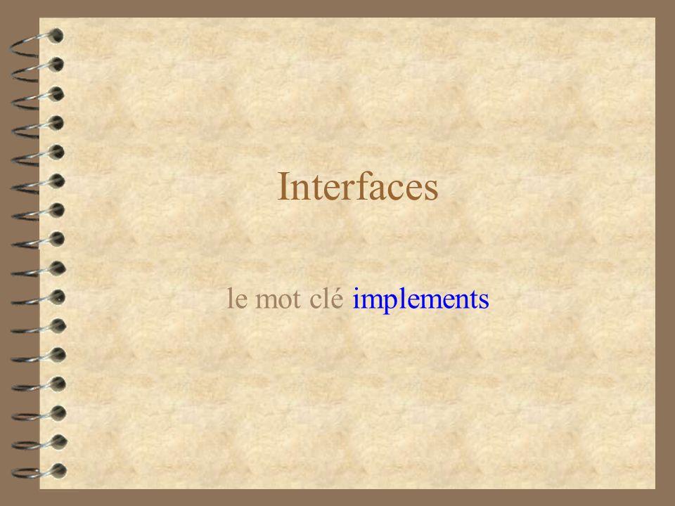 Interfaces le mot clé implements