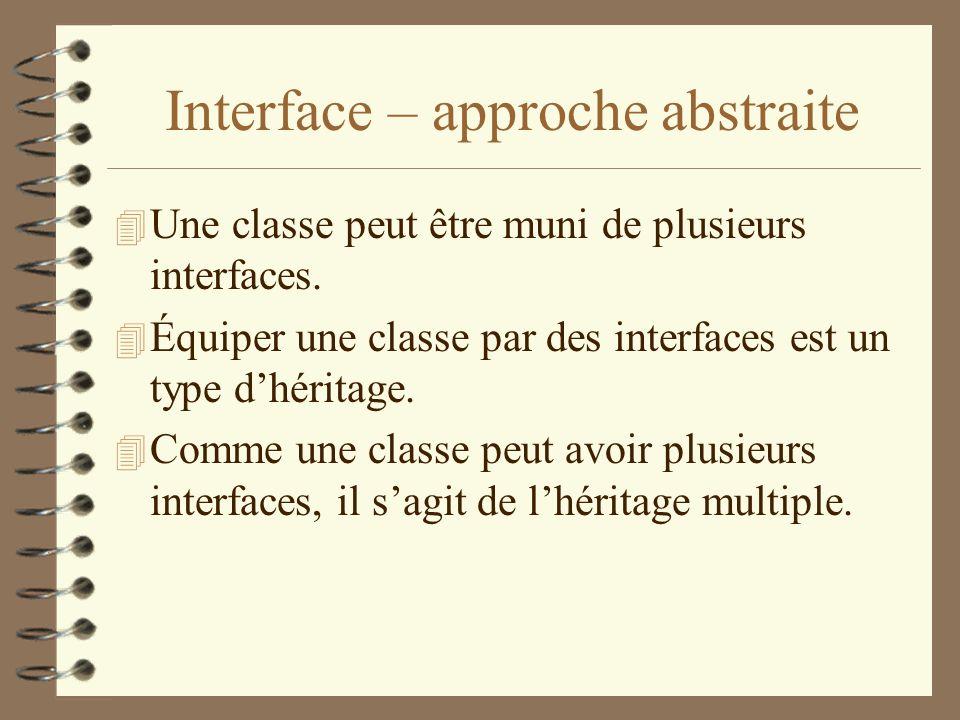 Interface – approche abstraite 4 Une classe peut être muni de plusieurs interfaces. 4 Équiper une classe par des interfaces est un type dhéritage. 4 C