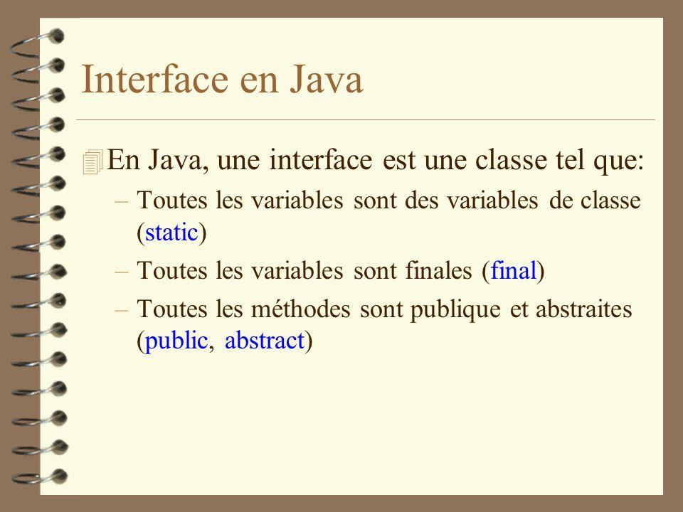 Interface en Java 4 En Java, une interface est une classe tel que: –Toutes les variables sont des variables de classe (static) –Toutes les variables s