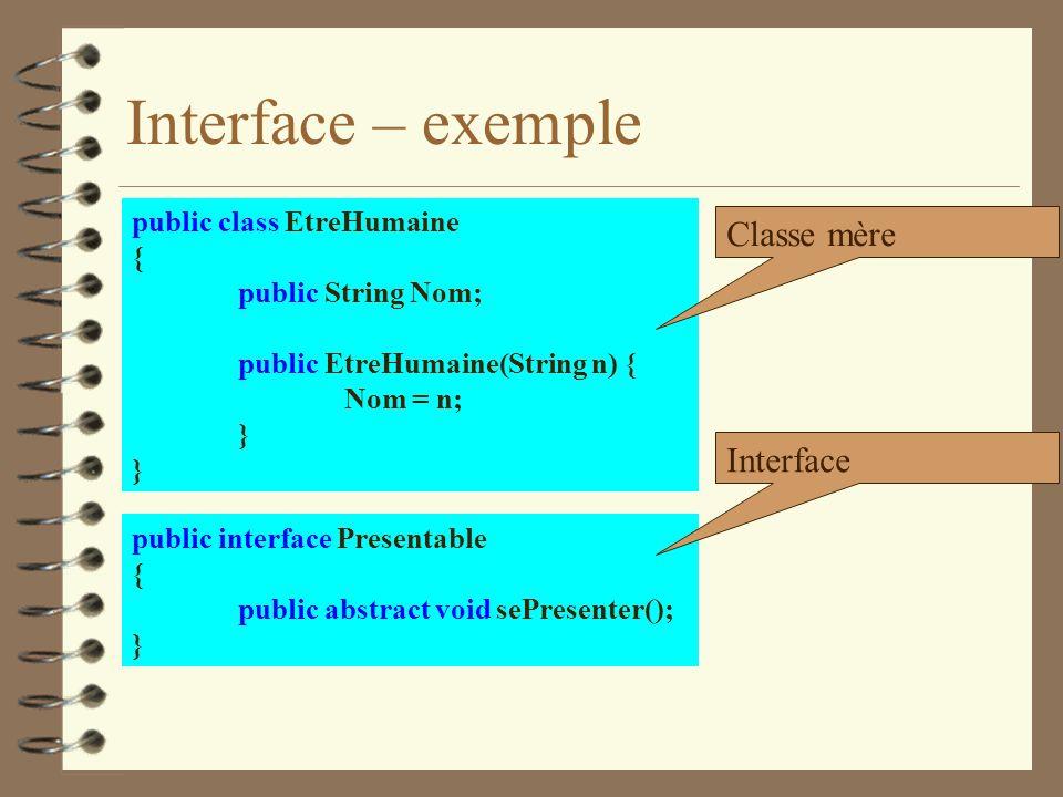 Interface – exemple public class EtreHumaine { public String Nom; public EtreHumaine(String n) { Nom = n; } public interface Presentable { public abst