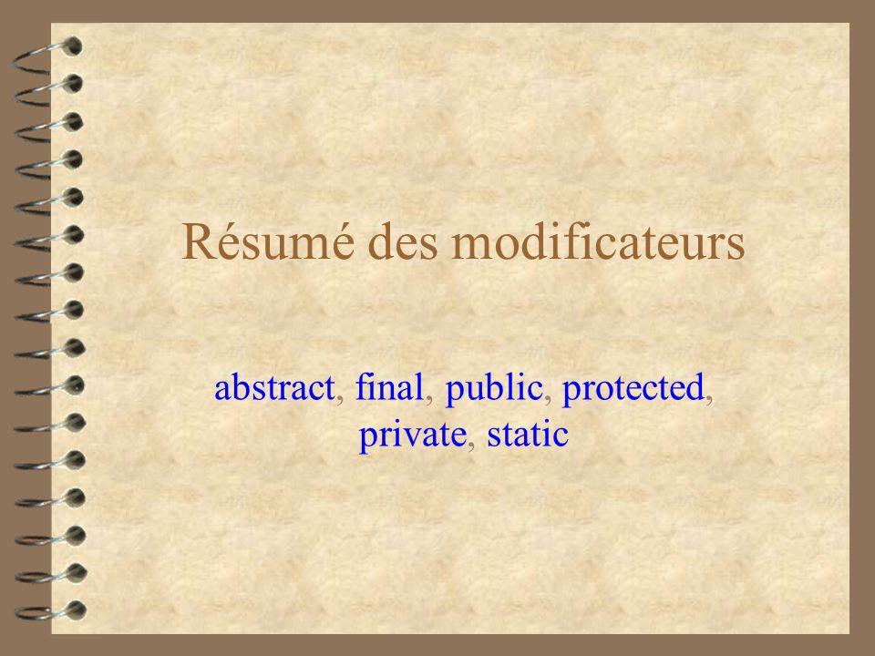 Résumé des modificateurs abstract, final, public, protected, private, static