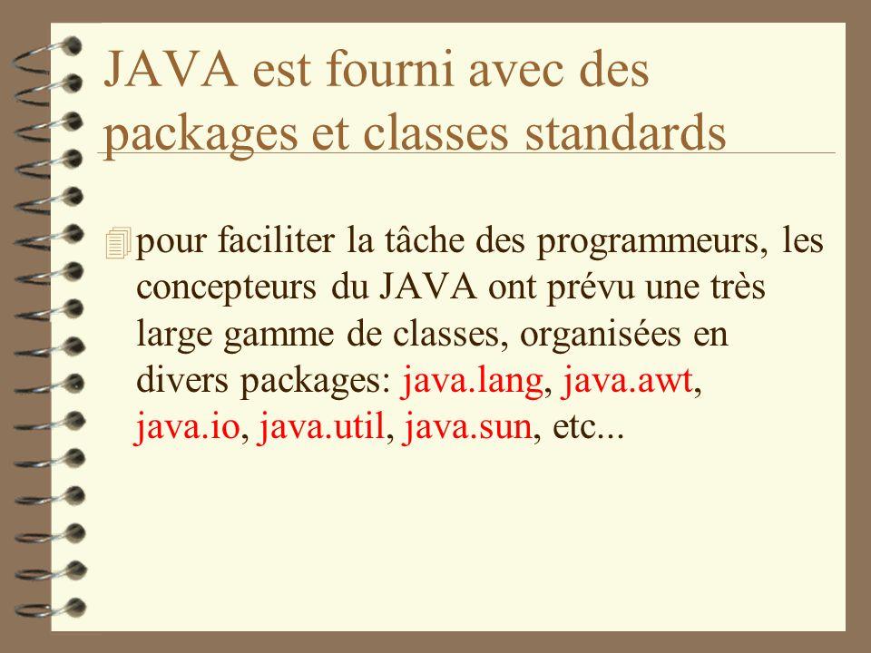 JAVA est fourni avec des packages et classes standards 4 pour faciliter la tâche des programmeurs, les concepteurs du JAVA ont prévu une très large ga