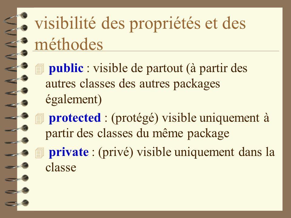 visibilité des propriétés et des méthodes 4 public : visible de partout (à partir des autres classes des autres packages également) 4 protected : (pro