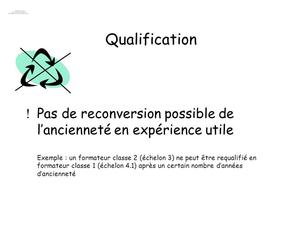 Qualification Pas de reconversion possible de lancienneté en expérience utile Exemple : un formateur classe 2 (échelon 3) ne peut être requalifié en f