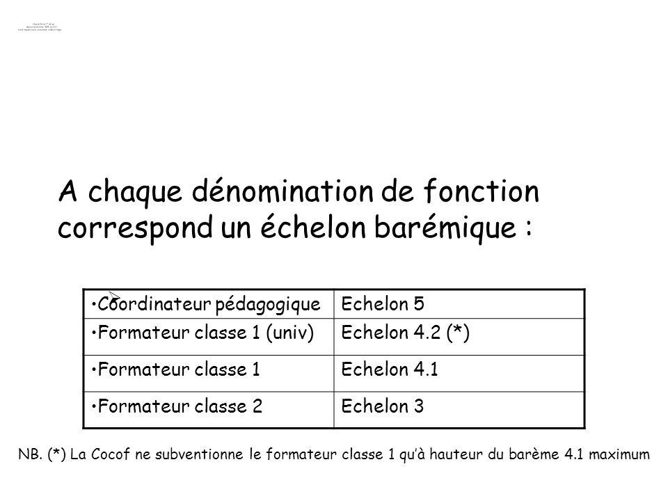 A chaque dénomination de fonction correspond un échelon barémique : Coordinateur pédagogiqueEchelon 5 Formateur classe 1 (univ)Echelon 4.2 (*) Formate