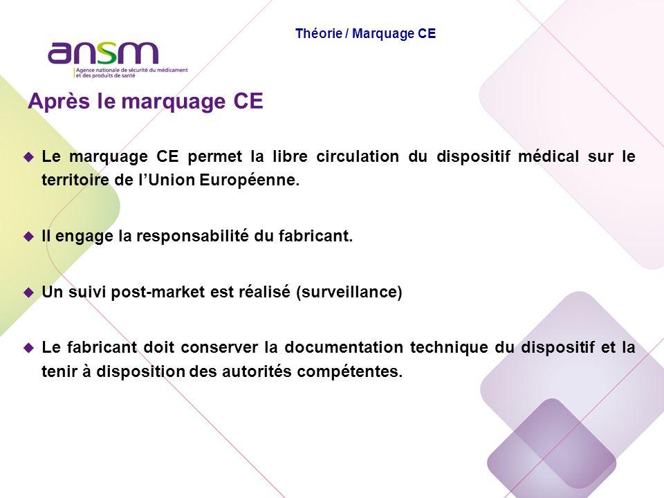 Après le marquage CE u Le marquage CE permet la libre circulation du dispositif médical sur le territoire de lUnion Européenne. u Il engage la respons