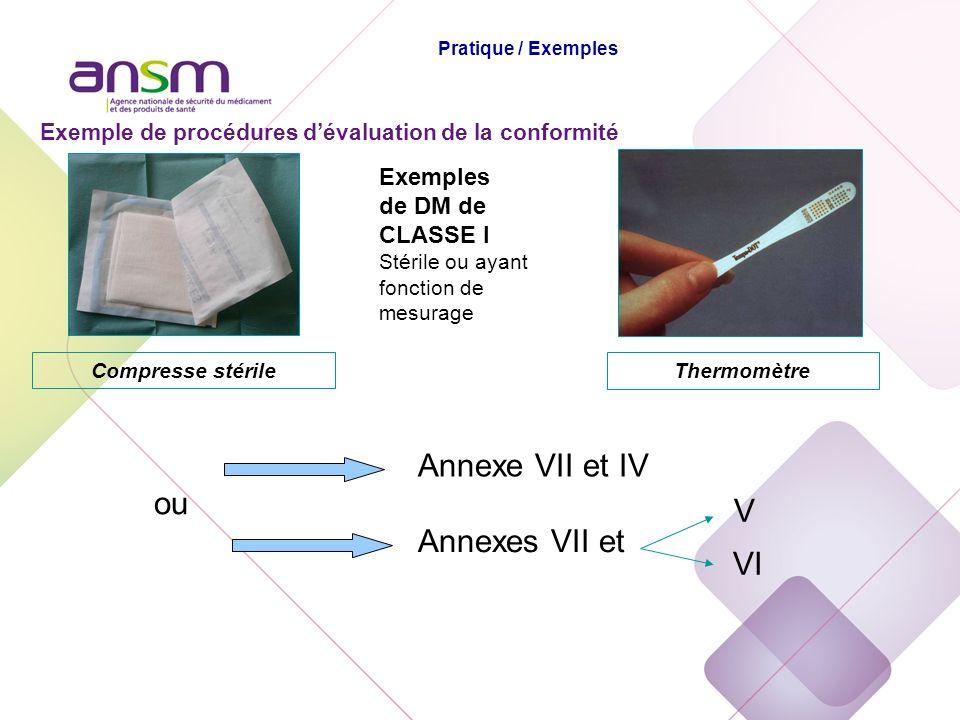 Exemples de DM de CLASSE I Stérile ou ayant fonction de mesurage Annexes VII et Annexe VII et IV Thermomètre Compresse stérile Exemple de procédures d