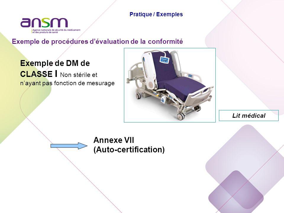 Exemple de procédures dévaluation de la conformité Annexe VII (Auto-certification) Lit médical Exemple de DM de CLASSE I Non stérile et nayant pas fon