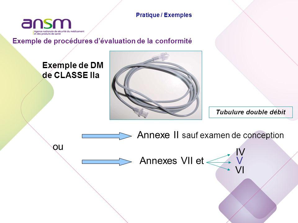 Exemple de DM de CLASSE IIa Annexe II sauf examen de conception ou Annexes VII etV Tubulure double débit Exemple de procédures dévaluation de la confo