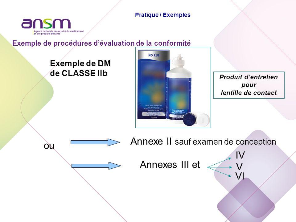 Exemple de DM de CLASSE IIb Annexe II sauf examen de conception ou Annexes III et IV V VI Produit dentretien pour lentille de contact Exemple de procé