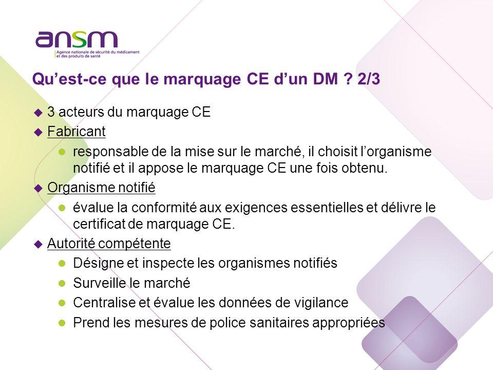 Quest-ce que le marquage CE dun DM ? 2/3 u 3 acteurs du marquage CE u Fabricant l responsable de la mise sur le marché, il choisit lorganisme notifié