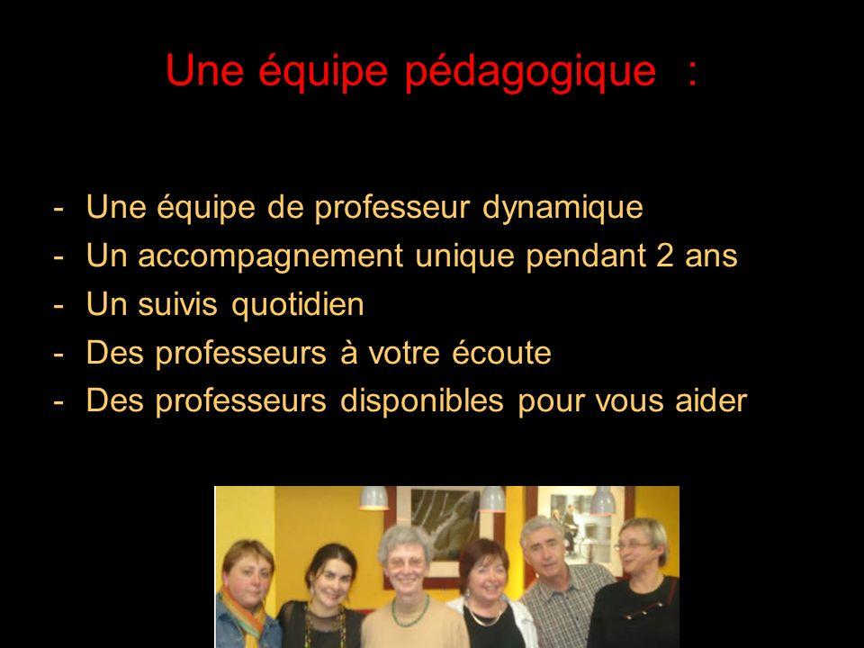 21/05/2014 Une équipe pédagogique : -Une équipe de professeur dynamique -Un accompagnement unique pendant 2 ans -Un suivis quotidien -Des professeurs à votre écoute -Des professeurs disponibles pour vous aider