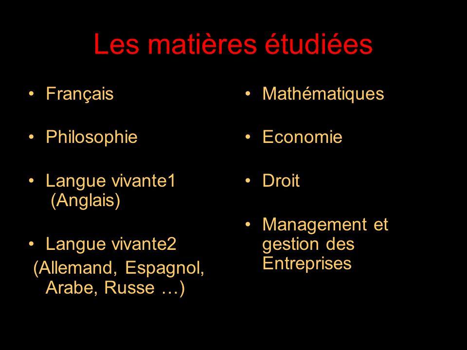 21/05/2014 Les matières étudiées Français Philosophie Langue vivante1 (Anglais) Langue vivante2 (Allemand, Espagnol, Arabe, Russe …) Mathématiques Economie Droit Management et gestion des Entreprises