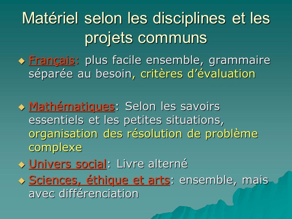 Matériel selon les disciplines et les projets communs Français: plus facile ensemble, grammaire séparée au besoin, critères dévaluation Français: plus